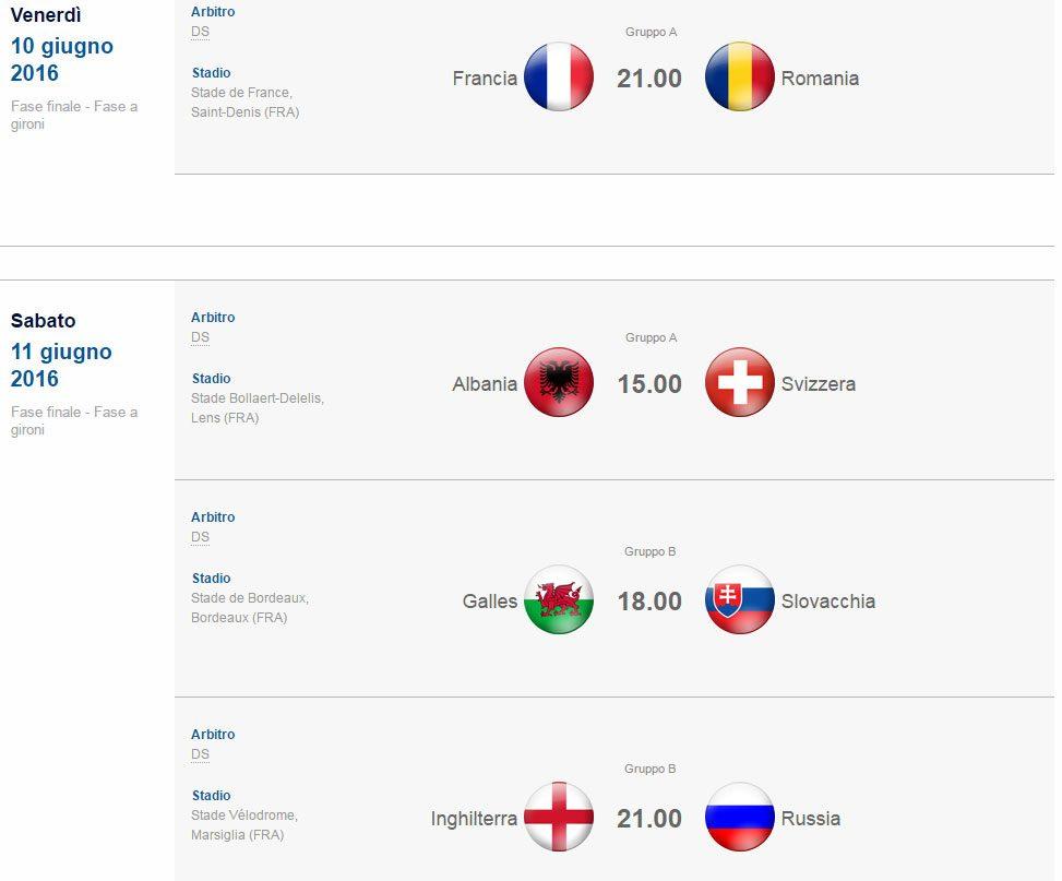partite- 10- 11 giugno-euro-2016