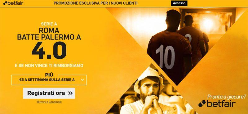 Scommetti le quote maggiorate di Betfair per Roma vs Palermo