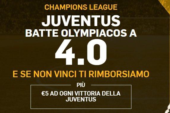 Promo di Betfair per la partita Juventus Olympiakos!