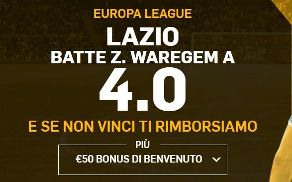 Promo di Betfair per la partita Lazio Z. Waregem!