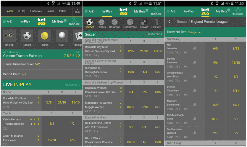 Modulo d'Bet365 Mobile
