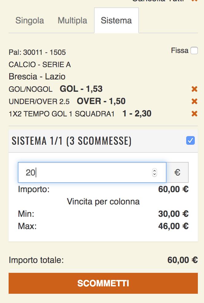schedina pronta serie a Brescia Lazio serie a